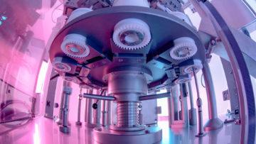 <b>Поворотный стол. Вид снизу</b><br><span>Универсальная тубонаполнительная машина: TU 80 M (Gustav Obermeyer, Германия)</span>